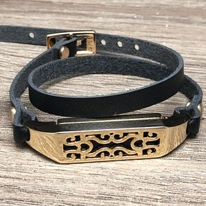 Black Leather Gold Metal Band for Fitbit Flex 2